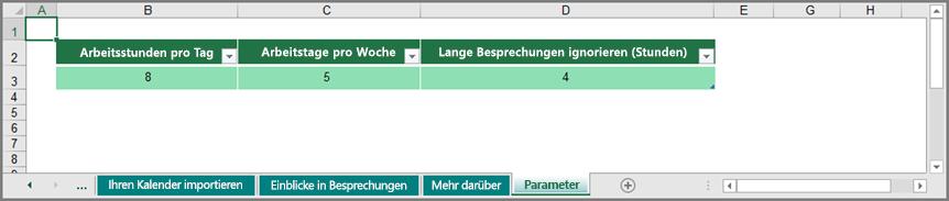 """Anpassen der Arbeitsmuster im Arbeitsblatt """"Parameter"""""""
