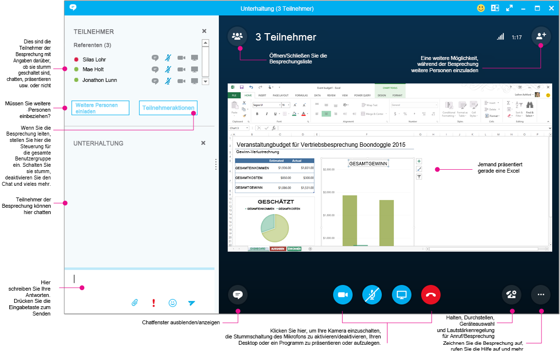 Skype for Business-Besprechungsfenster in Diagrammform