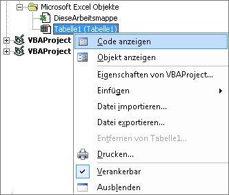 Im Projektexplorer-Fenster wird Code für diese Excel-Arbeitsmappe angezeigt