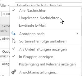 """Screenshot mit der ausgewählten Option """"Ungelesene Nachrichten"""" im Dropdownmenü """"Alle"""" auf dem Menüband """"Posteingang""""."""