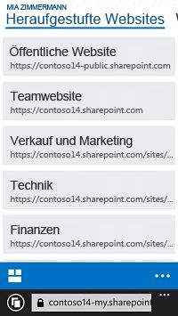 Heraufgestufte Websites in SharePoint Online auf einem mobilen Gerät