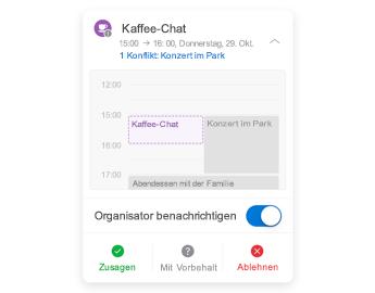 Besprechungseinladung mit Minikalender oben, Kommentarbereich in der Mitte und Antwortschaltflächen unten.