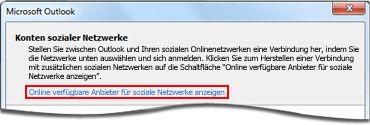 Anbieterseite mit Link zu Outlook Connector für soziale Netzwerke
