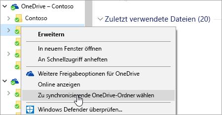 """Ein Screenshot des Kontextmenüs im Datei-Explorer mit ausgewählter Option """"Zu synchronisierende OneDrive-Ordner wählen"""""""
