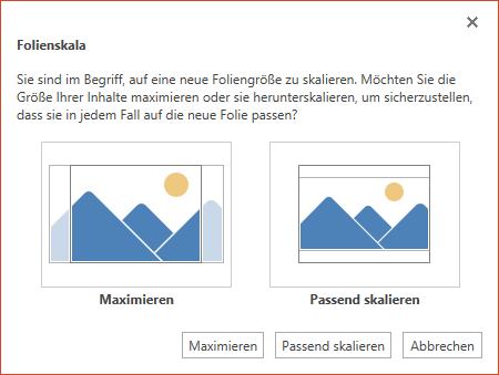 """Wählen Sie """"Maximieren"""" aus, um den verfügbaren Platz vollständig zu nutzen, oder """"Passend skalieren"""", um sicherzustellen, dass der Inhalt auf die vertikale Seite passt."""