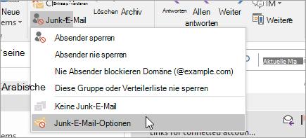 Ein Screenshot der Schaltfläche Junk-e-Mail-Optionen
