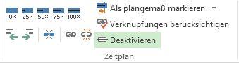 Schaltfläche 'Deaktivieren' in der Gruppe 'Terminplan' auf der Registerkarte 'Vorgang'