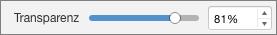 PowerPoint für Mac, Transparenzschieberegler