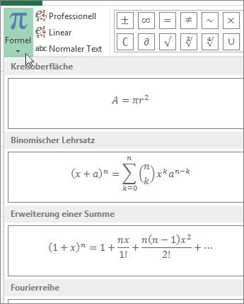 Vordefinierte Formelvorlagen unter der Schaltfläche 'Formel'