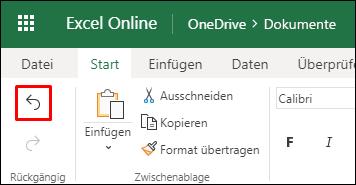 """Verwenden Sie die Schaltfläche """"Rückgängig"""" auf der Registerkarte """"Start"""" in Excel im Web zum Rückgängigmachen einer vorherigen Sortierung"""