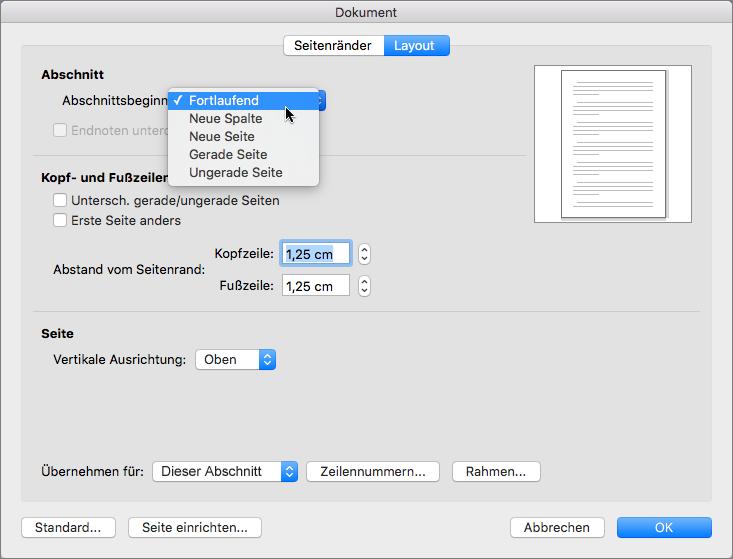 """Das Dialogfeld """"Dokument"""" enthält Einstellungen zur Verwaltung von Abschnitten, Kopf- und Fußzeilen."""