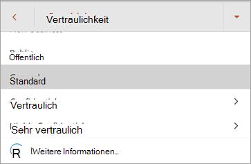 Screenshot der Vertraulichkeits Beschriftungen in Office für Android