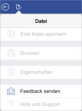 "Screenshot des Links ""Feedback senden"" in Visio auf dem iPad"
