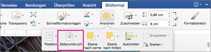 """Klicken Sie auf """"Textfluss"""", um anzugeben, wie Text um ein Bild oder ein Zeichnungsobjekt umbrochen werden soll."""