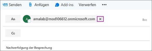 """Der Screenshot zeigt die """"An""""-Zeile eine E-Mail-Nachricht mit der Option, um die E-Mail-Adresse des Empfängers zu löschen."""