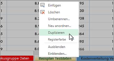 """Arbeitsblatt im Hintergrund und kontextbezogenes Menü mit ausgewähltem Befehl """"Duplizieren"""""""