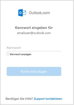 Geben Sie das Kennwort für Ihr Outlook.com-Konto ein.