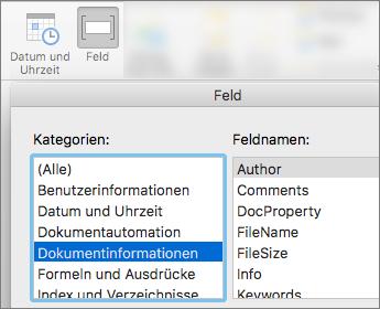 Screenshot mit Feldfunktionen, die nach Dokument Informationskategorie gefiltert werden