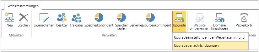 Schaltfläche 'Upgrade' mit aktivierter Option 'Upgradebenachrichtigungen'