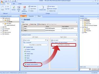 In Dashboard-Designer können Sie einen Scorecard-KPI mit einem ReportingServices-Bericht verknüpfen.