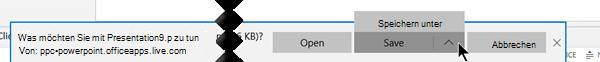 Verwenden Sie speichern oder Speichern unter, und wählen Sie dann den Ordner auf Ihrem Computer, in dem die Datei gespeichert werden sollen