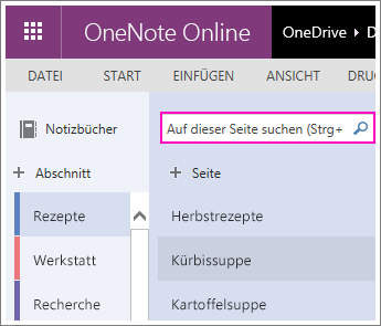 Screenshot des Suchfelds in OneNote Online