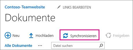 """Der Befehl """"Synchronisieren"""" in einer SharePoint-Dokumentbibliothek"""