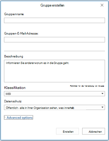 "Infoseite ""Neue Gruppe"" in Outlook"