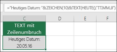 """Beispiel für die Verwendung der TEXT-Funktion zusammen mit CHAR(10) zum Einfügen eines Zeilenumbruchs. =""""Aktuelles Datum: """"&CHAR(10))&TEXT(HEUTE(),""""TT/MM/JJ"""")"""