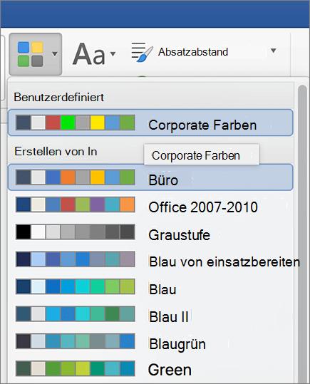 Benutzerdefinierte Designfarben Word