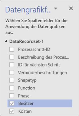 """Anwenden von Datengrafiken auf Diagramme in der Visio-Datenschnellansicht mithilfe des Bereichs """"Datengrafiken"""""""