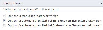 Startoptionen für Workflows