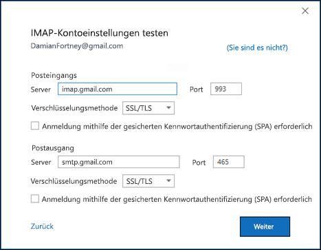 Überprüfen Sie Ihre Gmail-IMAP-Einstellungen.