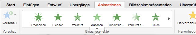 "Registerkarte ""Animationen"""