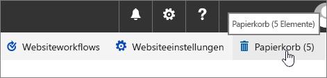 """Papierkorb im Bildschirm """"Websiteinhalt"""""""