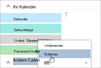 Ein Screenshot der Option ' Kalender entfernen '