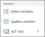 Windows Mobile: Tabellenspalten und -zeilen verteilen
