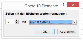 """Bedingte Formatierung, Auswahl für """"Obere 10 Elemente"""""""