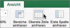 """Registerkarte """"Ansicht"""", Schaltfläche """"Oberste Zeile fixieren"""""""