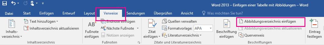"""Der Befehl """"Abbildungsverzeichnis einfügen"""" befindet sich auf der Registerkarte """"Verweise""""."""
