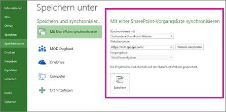 Bild 'Synchronisieren mit SharePoint-Bereich' im Backstage
