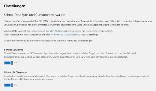 """Screenshot von """"Einstellungen"""" in School Data Sync zum Aktivieren oder Deaktivieren von School Data Sync"""