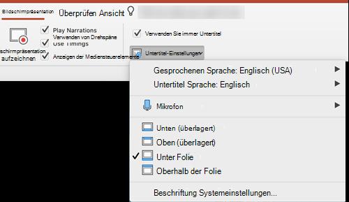 """Einstellungen für Beschriftungen und Untertitel befinden sich auf der Registerkarte """"Bildschirmpräsentation"""" in PowerPoint."""