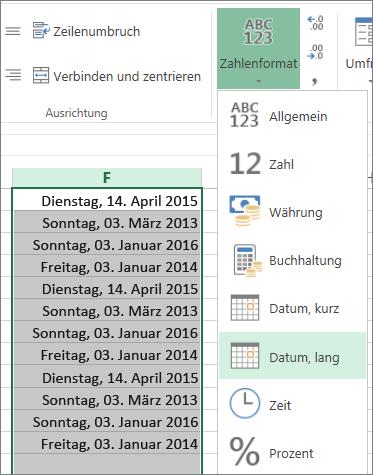 """Schaltfläche auf dem Menüband zum Ändern in das Format """"Langes Datum"""""""
