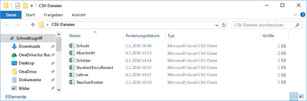 Alle CSV-Dateien müssen in demselben Verzeichnis enthalten sein.