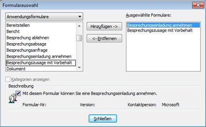 Dialogfeld 'Formular wählen'