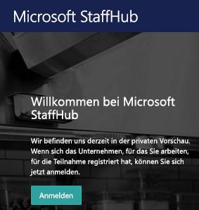 Anmeldebildschirm in der Microsoft StaffHub-Web-App