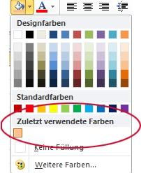 Option 'Zuletzt verwendete Farben'