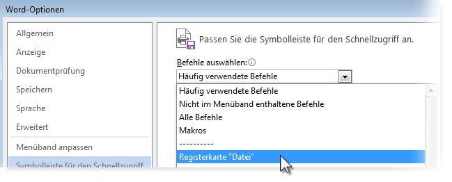 Passen Sie die Symbolleiste für den Schnellzugriff an, indem Sie auf der Registerkarte 'Datei' Befehle hinzufügen.