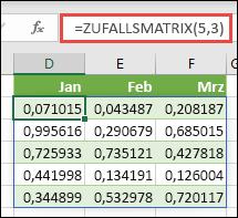 Zufalls Matrix-Funktion in Excel. Zufalls Matrix (5; 3) gibt zufällige Werte zwischen 0 und 1 in einem Array zurück, das fünf Zeilen mit einer Breite von drei Spalten aufsummiert.